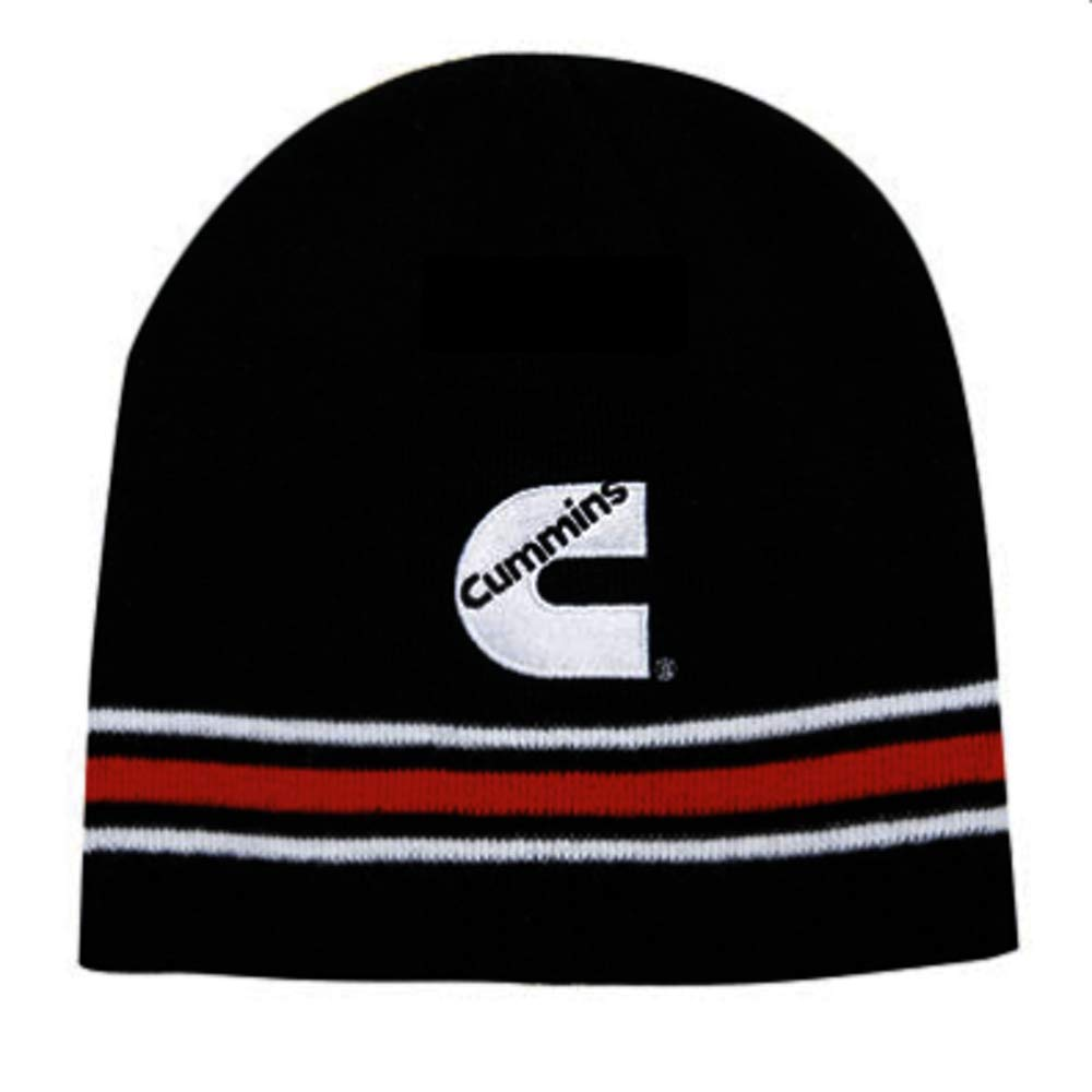 Red /& White Striped Winter Beanie Cap Cummins Diesel Black