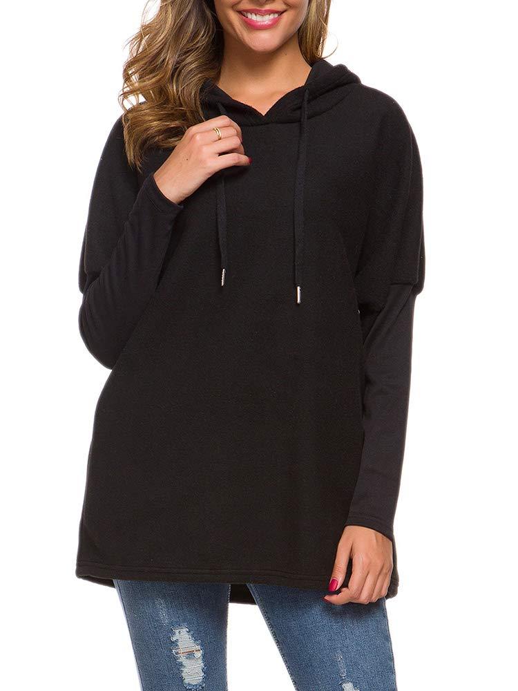 Leepus Women Winter Solid Color Hoodie Drawstring Long Sleeve Splicing Pullover Black by Leepus
