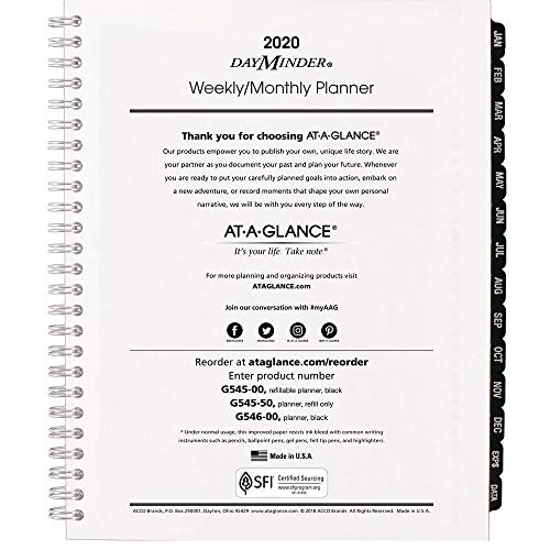 AT-A-GLANCE 2020 Weekly & Monthly Planner Refill, DayMinder, 7