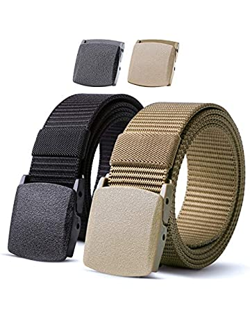 4b3388f6d Nylon Military Tactical Men Belt 2 Pack Webbing Canvas Outdoor Web Belt  With Plastic Buckle