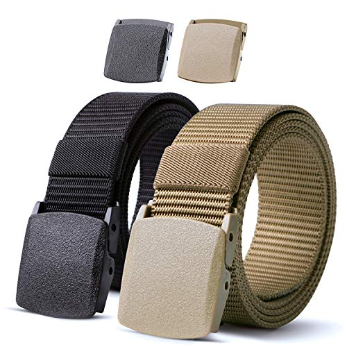 JASGOOD 2 Pack Nylon Belt Outdoor Military Web Belt 1.5 Inch Men Tactical Webbing Belt Black/Khaki Belt with Plastic Buckle,Fits Pant up to 45 Inch (Fabric Mens Belt)