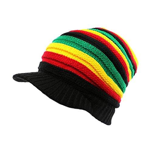 Gorra unisex, diseño tipo rasta, color rojo, amarillo y verde negro