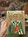 St Patrick Byzantine icon of the Irish Saint hand painted Naomh Padraig catholic gift