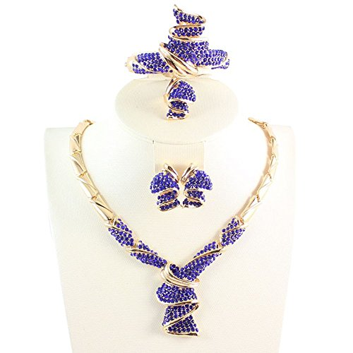OUHEJewelry Sets 18K Gold/Silver Plated Crystal Necklace Earrings Bracelet Ring Sets (Blue)