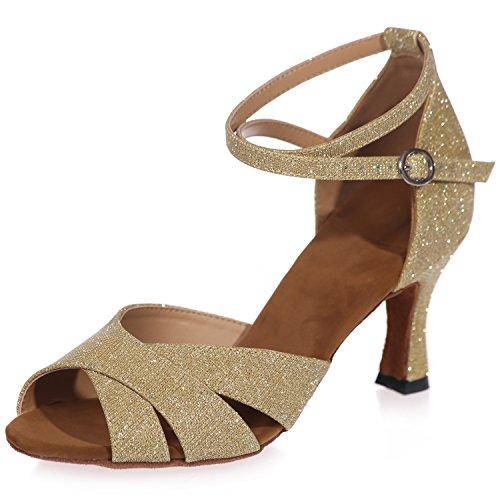 Standard Cm Glitter Donna Toe Elobaby Sera 7 da Peep Gold A8349 Tacco Latina 5 da Scarpe Fibbia Ballo wFqnvqOCz