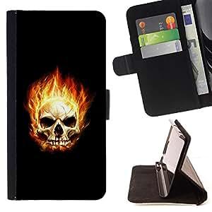 BullDog Case - FOR/Sony Xperia Z2 D6502 / - / Flaming Skull /- Monedero de cuero de la PU Llevar cubierta de la caja con el ID Credit Card Slots Flip funda de cuer