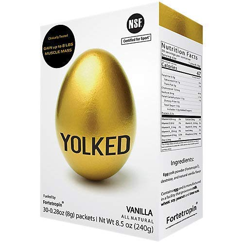 YOLKED ® Muscle Mass Enhancer with Fortetropin Fertilized Egg Yolk Powder, Natural Muscle Building Supplement - NSF-Certified Muscular Growth Aid for Weightlifting, Bodybuilding and Athletes, Vanilla