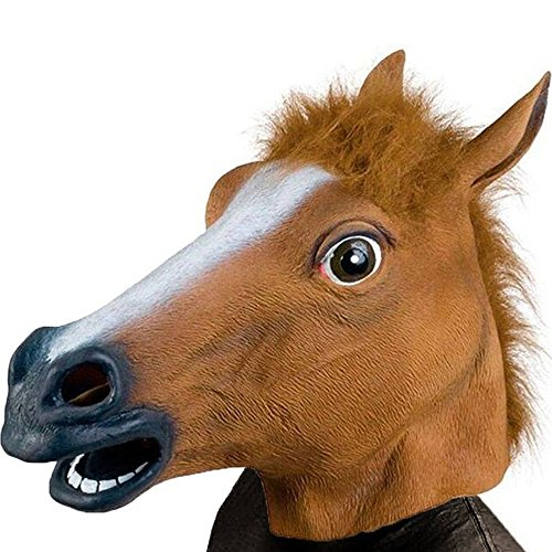 Brown Horse Head - Deluxe Novelty Halloween Costume Party Latex Animal Head Mask - Horse Head Brown