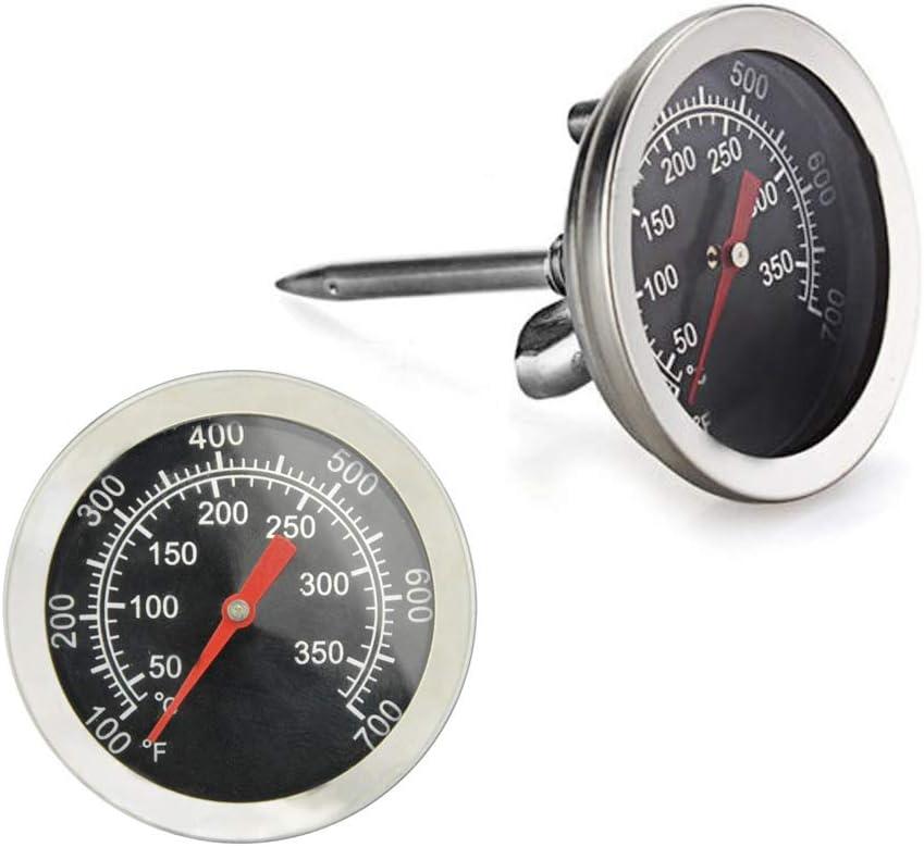 Termómetro para barbacoa de estilo artístico, 2 pulgadas de diámetro. Indicador de temperatura de acero inoxidable, indicador de calor, repuesto para horno, estufa de leña, accesorios (2 unidades)