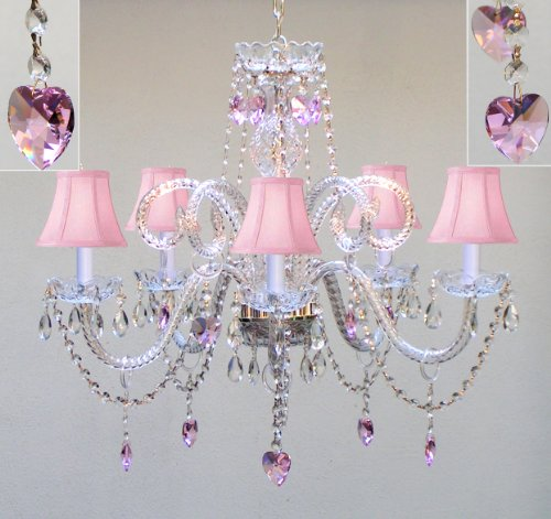 CHANDELIER LIGHTING W/ CRYSTAL PINK SHADES & HEARTS! H25″ x W24″ SWAG PLUG IN-CHANDELIER W/ 14′ FEET OF HANGING CHAIN AND WIRE! – PERFECT FOR KID'S AND GIRLS BEDROOM!