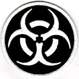 Biohazard Symbol Embroidered Patch Iron-On Danger Symbol White-on-Black Logo