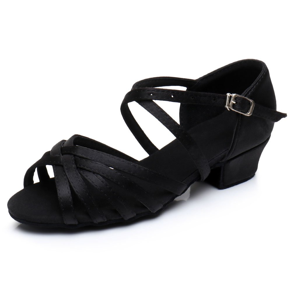 Cdso C1 Black Girls Latin Dance Shoes Ballroom Salsa For (Little or Big Kid)