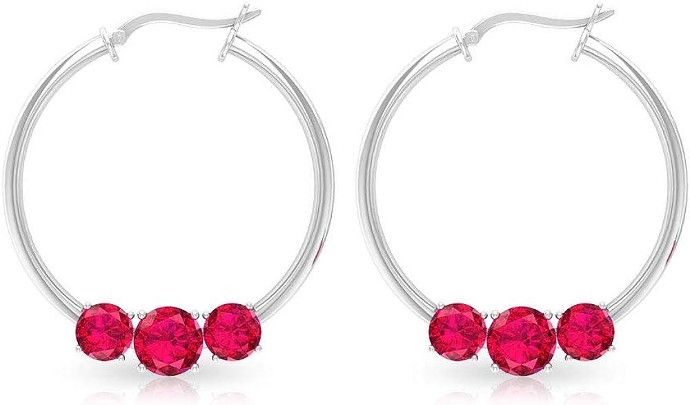 Pendientes de cristal de rubí de 2,6 quilates con certificado IDCL, tres pendientes de piedra roja para mujer, clásicos de novia, pendientes de aro para adolescente, con clip.