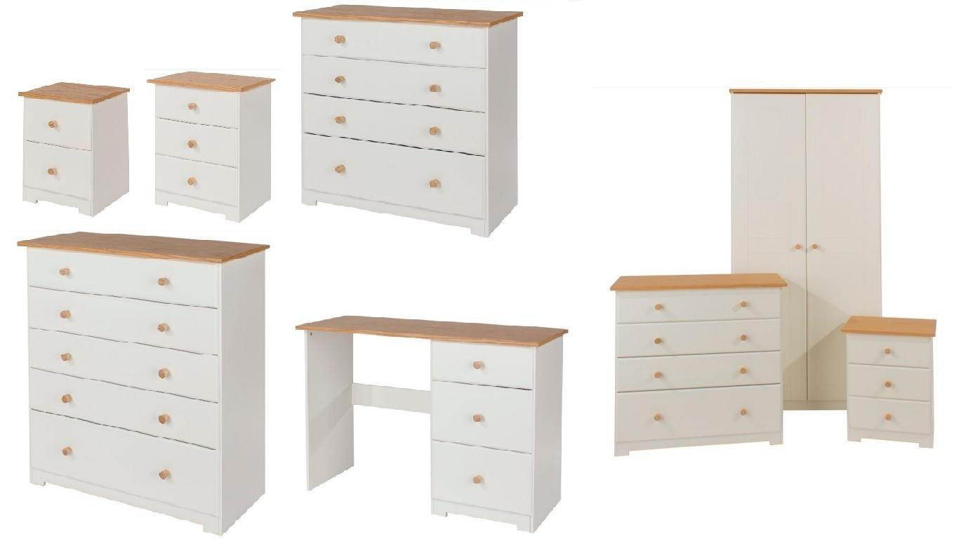 CP Bedroom Furniture Wardrobe Chest of Drawers Bedside White & Oak Real Wood Tops (2 Drawer Bedside Table)