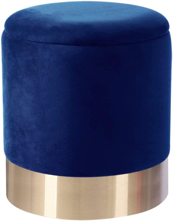 LOVEHOME Round Storage Ottoman,Velvet Padded Seat Dressing Stool Vanity Stool Footrest Pouf for Closet Bedroom Entryway Blue 363642cm((141417inch)