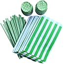 Outside the Box Papers Green Party Goods Bundle with Favor Sacks, Paper Straws and Candy/Nut Cups 24 Pack Green, White