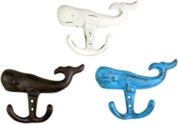 Set of 4 Assorted MayRich Cast Iron Whales Tails Decorative Wall Hooks