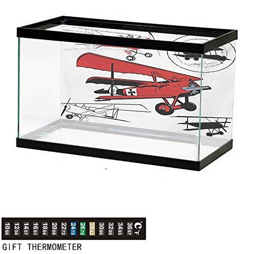 (wwwhsl Aquarium Background,Vintage Airplane,Collection of Various Biplanes Nostalgic Antique Silhouettes Print,Red White Black Fish Tank Backdrop 24