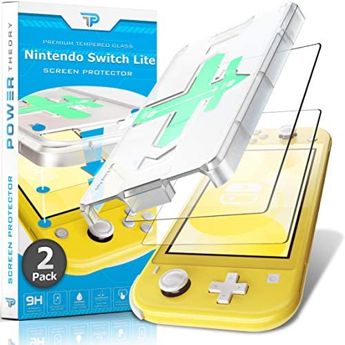 Power Theory Screen Protector for Nintendo Switch LITE [2-Pack] with Easy Install Kit [Premium Tempered Glass for Switch LITE Console]