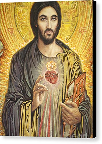''Sacred Heart Of Jesus Olmc'' by Smith Catholic Art, Canvas Print Wall Art, 11'' x 14'', Black Gallery Wrap, Glossy Finish by Pixels