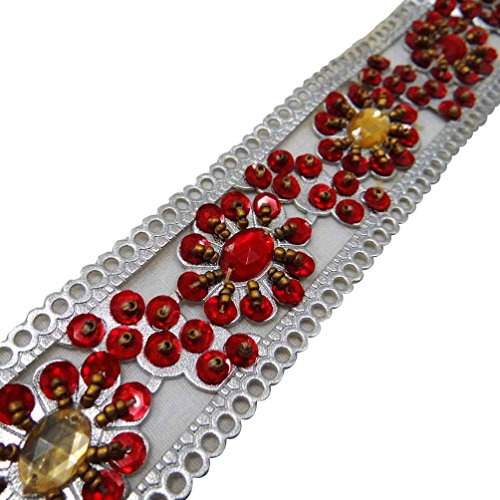 - Ethnic Trim Faux Leather Decorative Beaded Sari Silver Border Floral Lace By 9 Yards