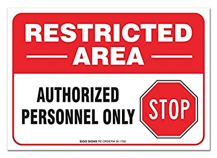 2 pack restricted area sign large 10 x 7 vinyl sticker