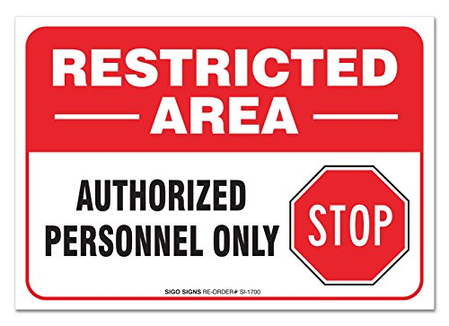 """(2 PACK) Restricted Area Sign, Large 10 X 7"""" Vinyl Sticker, For Indoor or Outdoor Use - By SIGO SIGNS from Sigo Signs"""