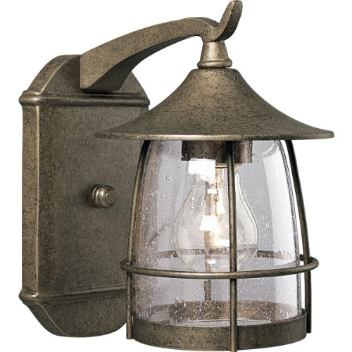 Progress Lighting P5763-86 1-Light Wall Lantern with Wire Frames and Clear Seeded Glass, Burnished (1 Light Wire Frame)