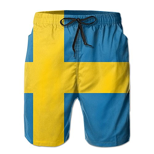 Flag Of Sweden Casual Cool 3D Print Relaxed Men Summer Surfing Quick-Drying Swim Trunks Beach Shorts Beach Pants With - Singapore Girls Ukraine In