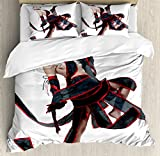 Anime Duvet Cover Set by Ambesonne, Posing Warrior Girl in Manga Style Japanese Culture Themed Illustration Art, 3 Piece Bedding Set with Pillow Shams, Queen / Full, Red White and Black