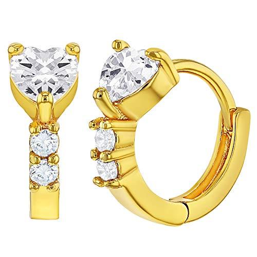 18k Gold Plated Heart Hoop Earrings Girls Children Clear Cubic Zirconia 0.39