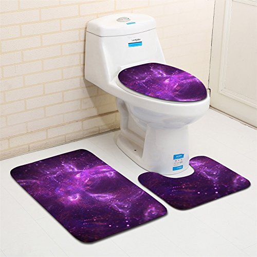 3PCS Bathroom Rug Mats Set Colorful Romantic Space Star Sky Non-Slip Bathroom Carpet Rug Contour & Seat Cover for Kitchen, Shower, and Toilet MTZ02 (style 2)