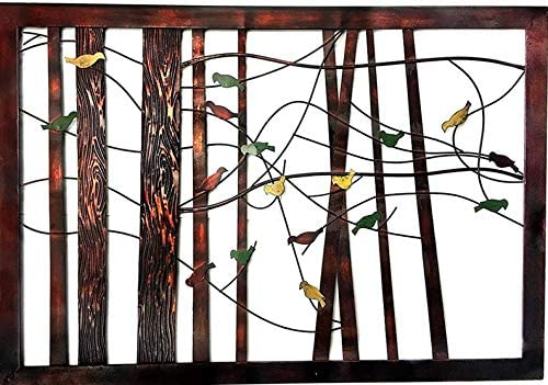 Bellaa 22021 Birds Metal Wall Decor Tree of Life 39 Inch Multi color mix