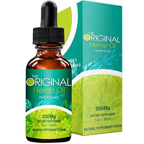The Original Hemp Oil - Full Spectrum - Premium Organic - Pain Relief - Better Sleep - Stress and Anxiety Relief -Hemp Seed Oil -Mint Flavor -250mg - 1Oz.