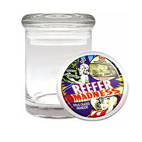 Medical Glass Stash Jar Reefer Madness S5 Air Tight Lid 3