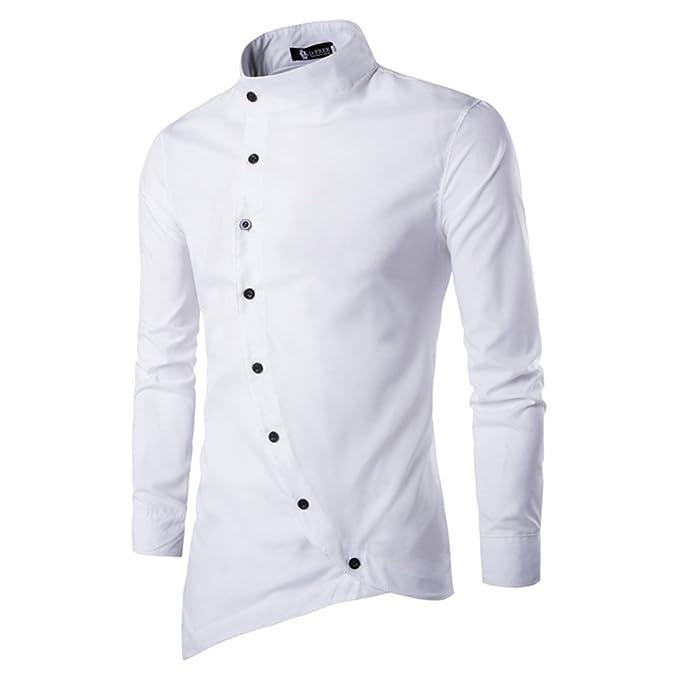 55622c8af964bf Camicia Uomo Moda Irregolare Slim Fit Manica Lunga T-Shirt Stand Collare  Casual Festa Top