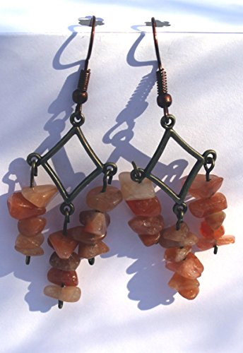 Antique Copper & Bronze Fish Hook Earrings with Red Agate/ Orange Aventurine Chip Beads Chandeliers