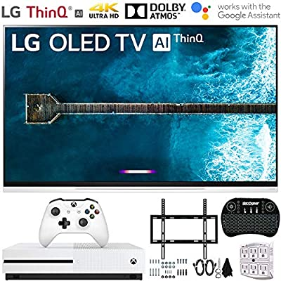 E9 4K HDR OLED Glass Smart TV w/AI ThinQ (2019 Model) w/Xbox Bundle Includes Microsoft Xbox One S 1TB, Flat Wall Mount Kit Ultimate Bundle for 32-60 inch TVs and More