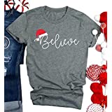 Christmas Believe Hat Shirt Cute Short Sleeve Christmas Graphic Print Tee Shirts Tops for Women