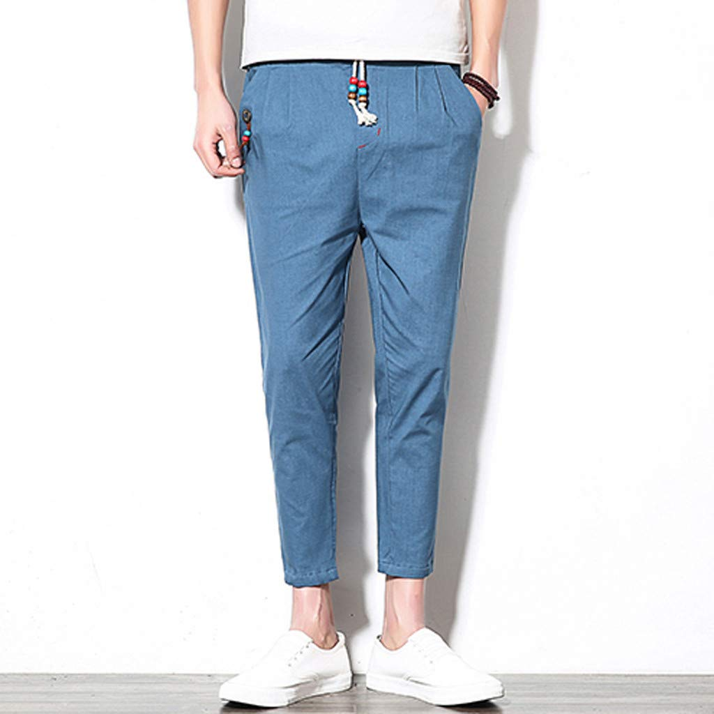 Swyss Mens Linen Casual Trousers Drawstring Elastic Waist Summer Beach Pants Ankle Pants