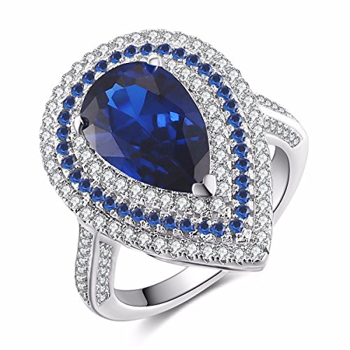 Caperci Sterling Silver Cubic Zirconia and Pear Cut Created Blue Sapphire Halo Ring