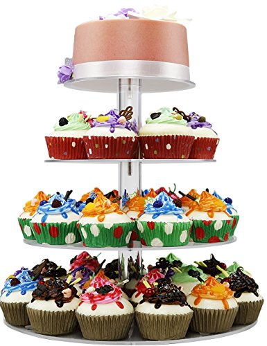4 Tiers Cupcake Stands Towers Clear Acrylic Display Holder Tree Tiered Cupcake Carrier Round Tiered Pastry Stand Dessert