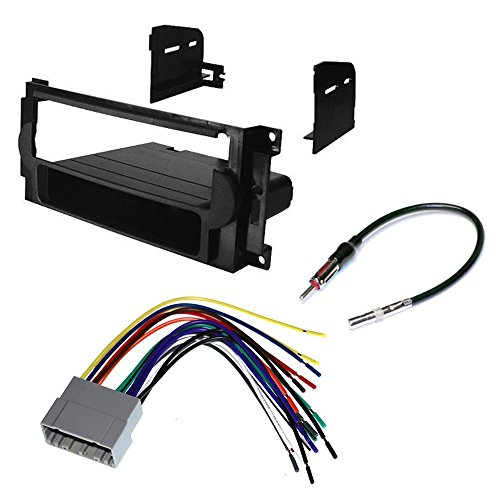 CAR CD STEREO RECEIVER DASH INSTALL MOUNTING KIT + WIRE HARNESS + RADIO ANTENNA ADAPTER FOR CHRYSLER + DODGE + JEEP 2004-2008 (Dodge Car Stereo Kit compare prices)