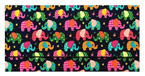 (Business Card Holder Small Elephants Cotton Checkbook Cover for Top Tear Checks, Checkbook Holder for Women, Checkbook Wallet for Men, Check Writer Cover, Check Register Holder and Checkbook Keeper)