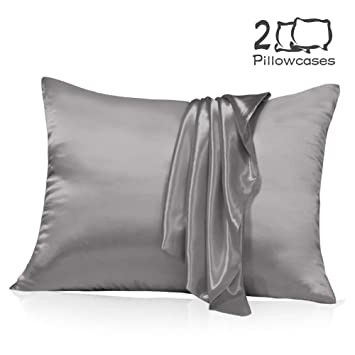 Muama Satin Silk Pillowcase 2 Pack for Hair and Skin with Hidden Zipper Luxury Silky Pillow Case Super Soft and Breathable Pillowcase Covers Queen ...