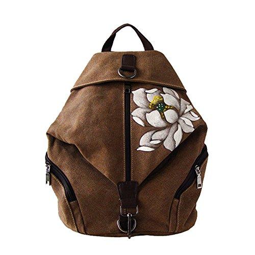 Flada - Bolso mochila para mujer negro Rojo 2 mediano marrón 1