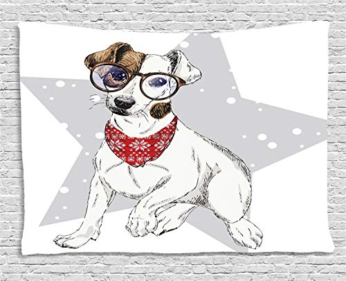 - Ambesonne Jack Russell Tapestry, Star Terrier with Necktie and Glasses Colorful Composition, Wall Hanging for Bedroom Living Room Dorm, 80