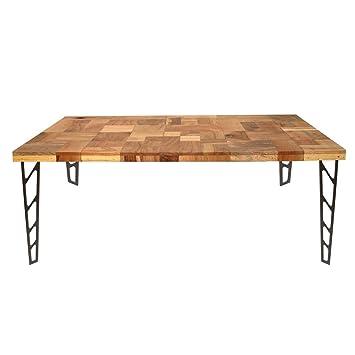Amazoncom Aurelle Home Reclaimed Wood Iron Dining Table Brown - Reclaimed wood and iron dining table