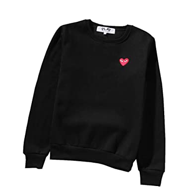 b8f47c166b25 Comme des Garcons CDG Play Print Sweater Round Neck Couple Black Sweater  Hoodie for Men Women  Amazon.co.uk  Clothing