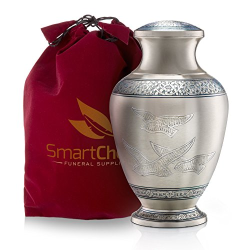 SmartChoice Wings of Freedom Cremation Urn for Human Ashes - Affordable Funeral Urn Adult Urn for Ashes Handcrafted Urn (Adult - Blue)